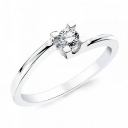 Solitario oro blanco 18k 1 diamante brillante 0,200ct. [AB2834]