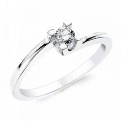 Solitario oro blanco 18k 1 diamante brillante 0,200ct. [AB2834]