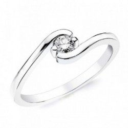 Solitario oro blanco 18k 1 diamante brillante 0,150ct. [AB2835]