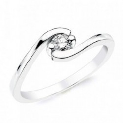 Solitario oro blanco 18k 1 diamante brillante 0,200ct. [AB2836]