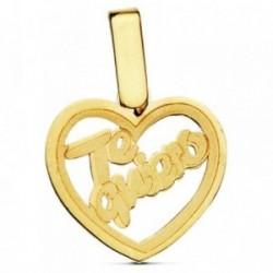 Colgante oro 18k corazón te quiero 14mm. [AB2869]