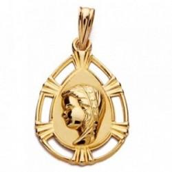 Medalla oro 18k Virgen Niña lágrima 23mm. [AB2874]