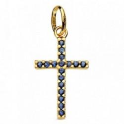 Cruz oro 18k piedras azules 16mm. [AB2905]