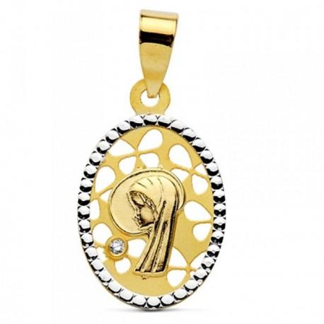 Medalla oro 18k bicolor óvalo Virgen Niña 16mm. [AB2915]