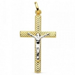 Cruz oro 18k bicolor Cristo hueca tallada 28mm. [AB2923]