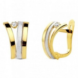 Pendientes oro 18k bicolor circonita 12mm. [AB2926]