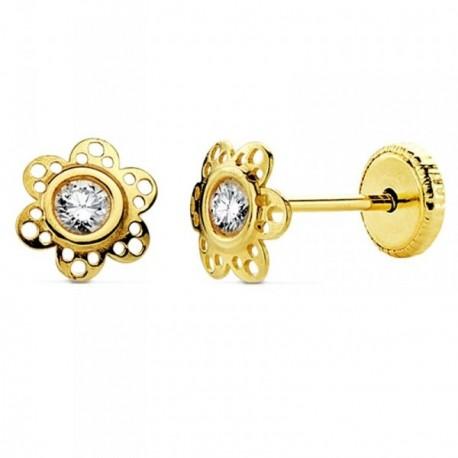 Pendientes oro 18k flor circonita 6mm. [AB2927]
