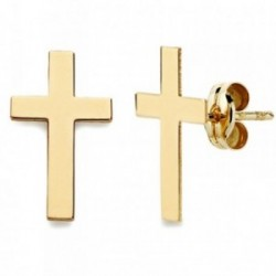Pendientes oro 18k cruz lisa 12mm. [AB2935]