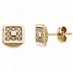 Pendientes oro 18k cuadrados circonitas 7mm. [AB2936]