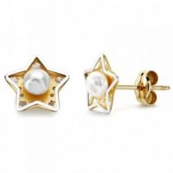 Pendientes oro 18k estrella bicolor y perla cultivada 8mm. [AB2939]