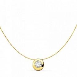 Colgante oro 18k chatón circonita cadena 42cm. [AB2943]