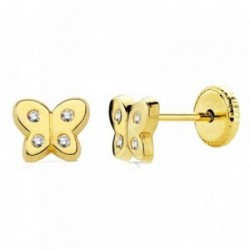 Pendientes oro 18k mariposa circonitas 6mm. [AB2947]