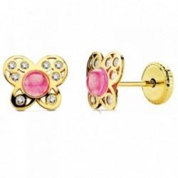 Pendientes oro 18k mariposa piedra rosa y circonitas [AB2950]