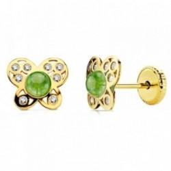 Pendientes oro 18k mariposa piedra verde y circonitas [AB2951]