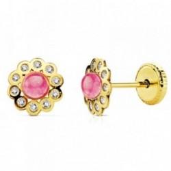 Pendientes oro 18k flor piedra rosa y circonitas [AB2954]