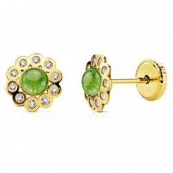 Pendientes oro 18k flor piedra verde y circonitas [AB2955]