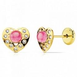 Pendientes oro 18k corazon piedra rosa y circonitas [AB2958]