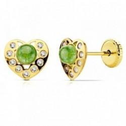Pendientes oro 18k corazon piedra verde y circonitas [AB2959]