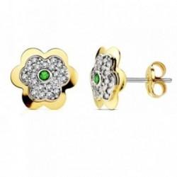 Pendientes oro 18k flor 6 hojas esmeralda circonita 6mm. [AB2960]