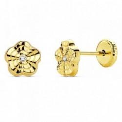Pendientes oro 18k flor ondas 6mm. circonita mujer cierre tuerca