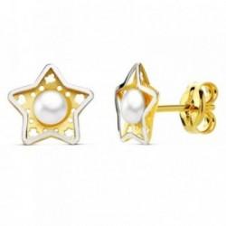Pendientes oro 18k perla estrella bicolor 5 hojas 8mm. [AB2969]