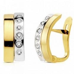 Pendientes oro 18k bicolor bandas con circonita 14mm. [AB2970]