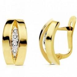 Pendientes oro 18k bicolor bandas con circonita 14mm. [AB2971]
