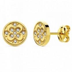 Pendientes oro 18k circular flor circonita 8mm. [AB2981]