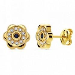 Pendientes oro 18k flor zafiro y circonitas 8mm. [AB2987]