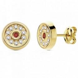 Pendientes oro 18k circular granate y circonitas 8mm. [AB3011]