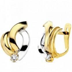 Pendientes oro 18k bicolor bandas con circonita 16mm. [AB3014]