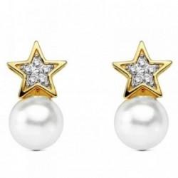 Pendientes oro 18k perla cultivada estrella circonita 12mm. [AB3017]