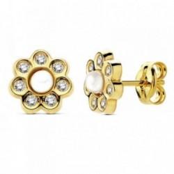 Pendientes oro 18k flor perlita y circonitas 7mm. [AB3020]