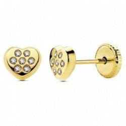 Pendientes oro 18k corazón circonitas 5mm. [AB3022]