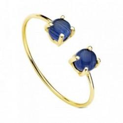 Sortija oro 18k 2 piedras azules garras [AB3080]