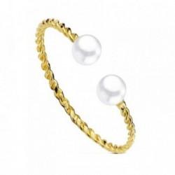 Sortija oro 18k 2 perlas 3,5 - 4mm. hilo rizado [AB3086]