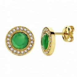 Pendientes oro 18k circular piedra verde y circonitas 9mm. [AB3100]