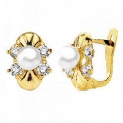 Pendientes oro 18k perla con circonita 11mm. cierre catalán