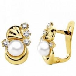 Pendientes oro 18k perla con circonita 12mm. [AB3105]