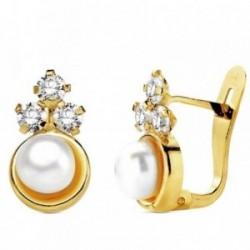 Pendientes oro 18k perla con circonita 12mm. [AB3108]