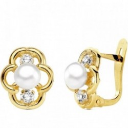 Pendientes oro 18k perla con circonita 11mm. [AB3111]