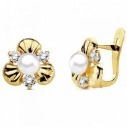 Pendientes oro 18k perla con circonita 10mm. [AB3113]