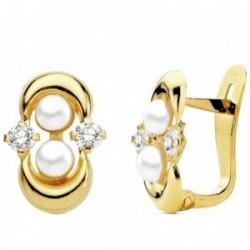 Pendientes oro 18k comunión perla con circonita [AB3115]