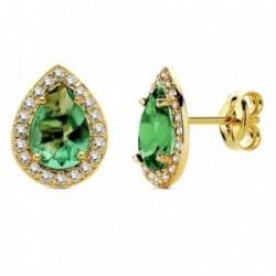 Pendientes oro 18k lágrima piedra verde circonitas 10mm. [AB3149]