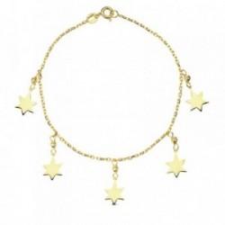 Pulsera oro 18k fetiches estrellas 18cm. 2.1gr. [AB3189]