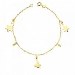 Pulsera oro 18k fetiches estrellas y mariposa 18cm. 2.3gr. [AB3190]