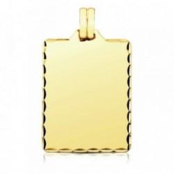 Colgante oro 9k chapa rectangular filo tallado 36mm. [AB3267]