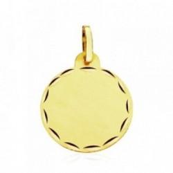 Colgante oro 9k chapa circular filo tallado 18mm. [AB3273]