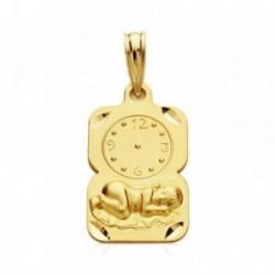 Medalla oro 9k rectangular bebé bajo reloj 19mm. [AB3280]