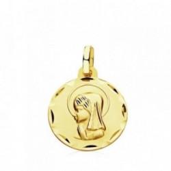 Medalla oro 9k Virgen Niña 14mm. [AB3286]